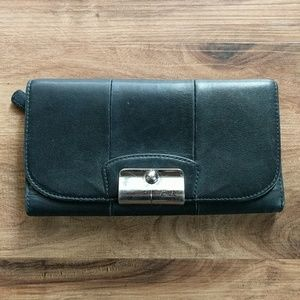 Coach Black Leather Trifold Checkbook Wallet
